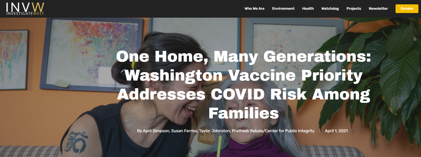 One Home, Many Generations: Washington Vaccine Priority Addresses COVID Risk Among Families